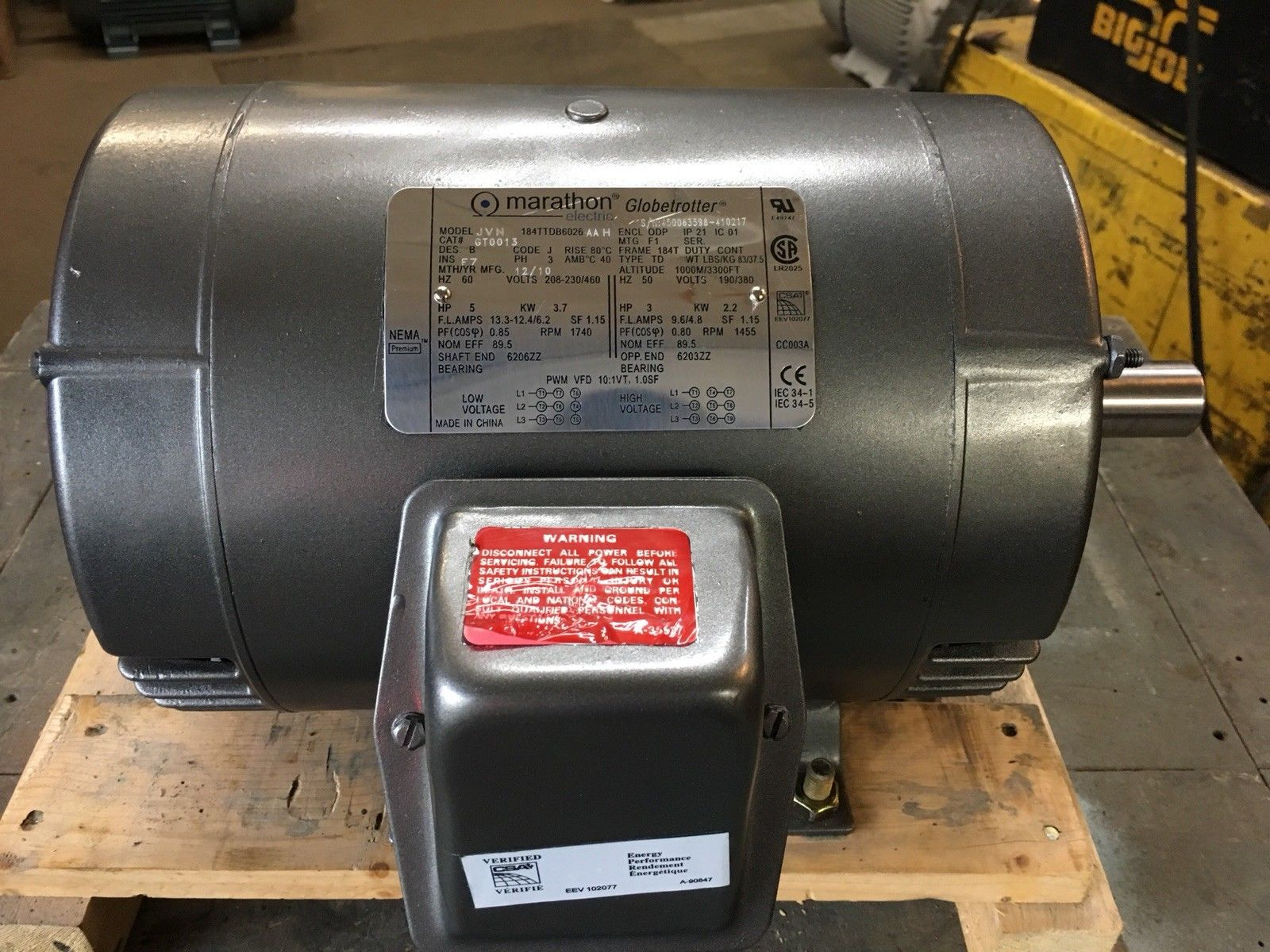 Marathon Electric 3-Phase 5 HP Motor Cat # GT0013 Grey