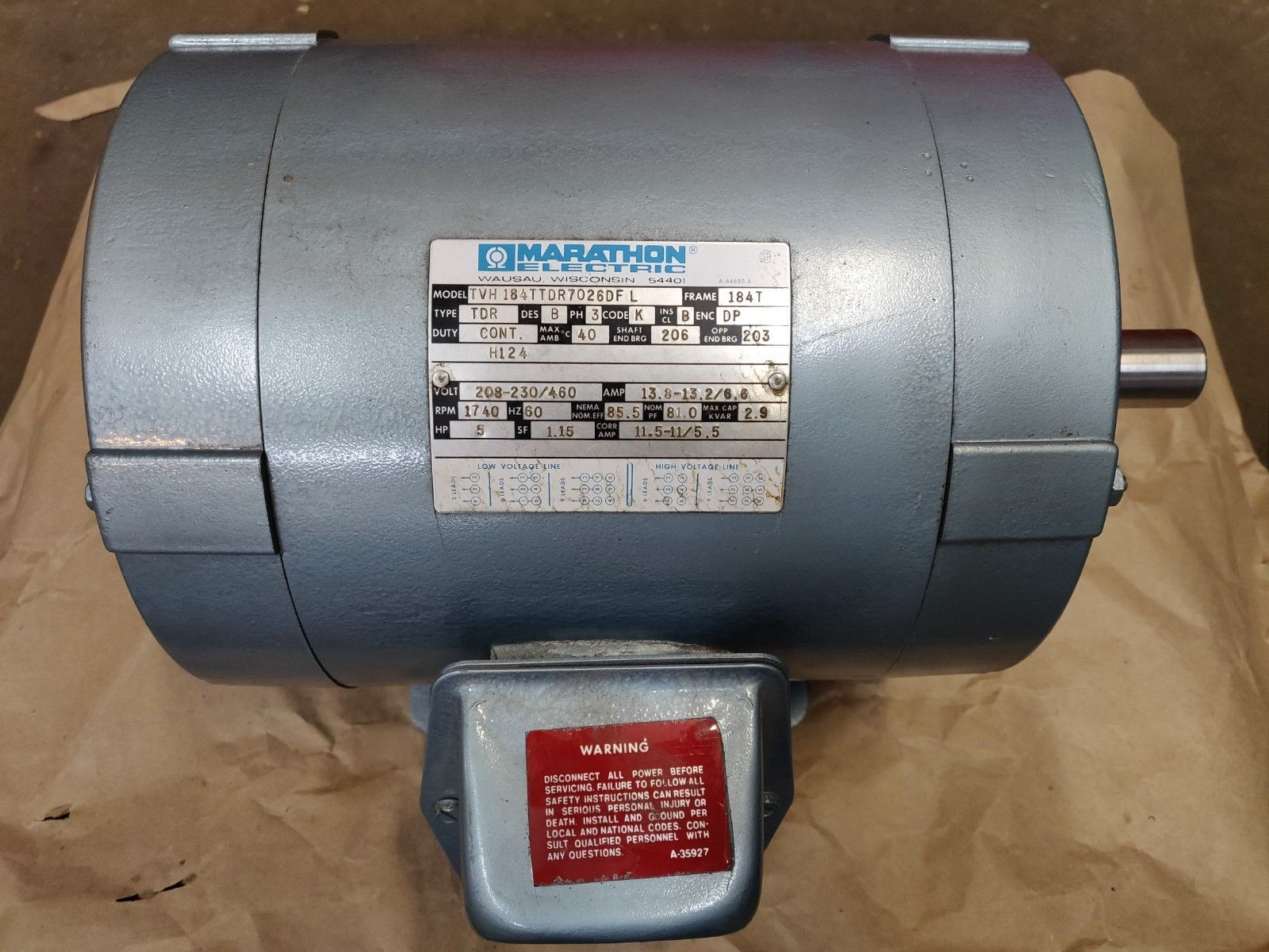 Marathon Electric Motor Model TVH184TTDR7026DFL