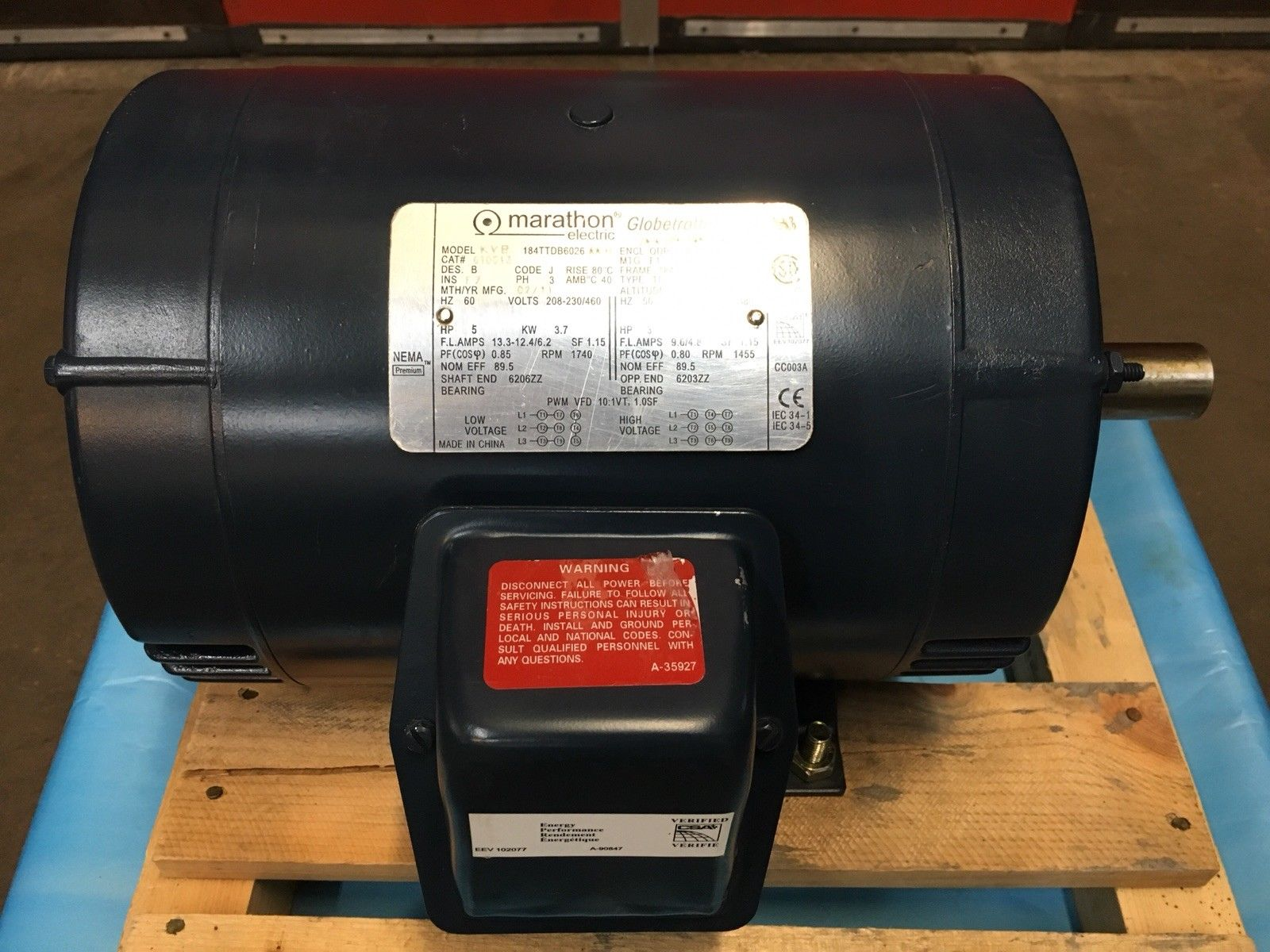 Marathon Electric 3-Phase 5 HP Motor Cat No. GT0013
