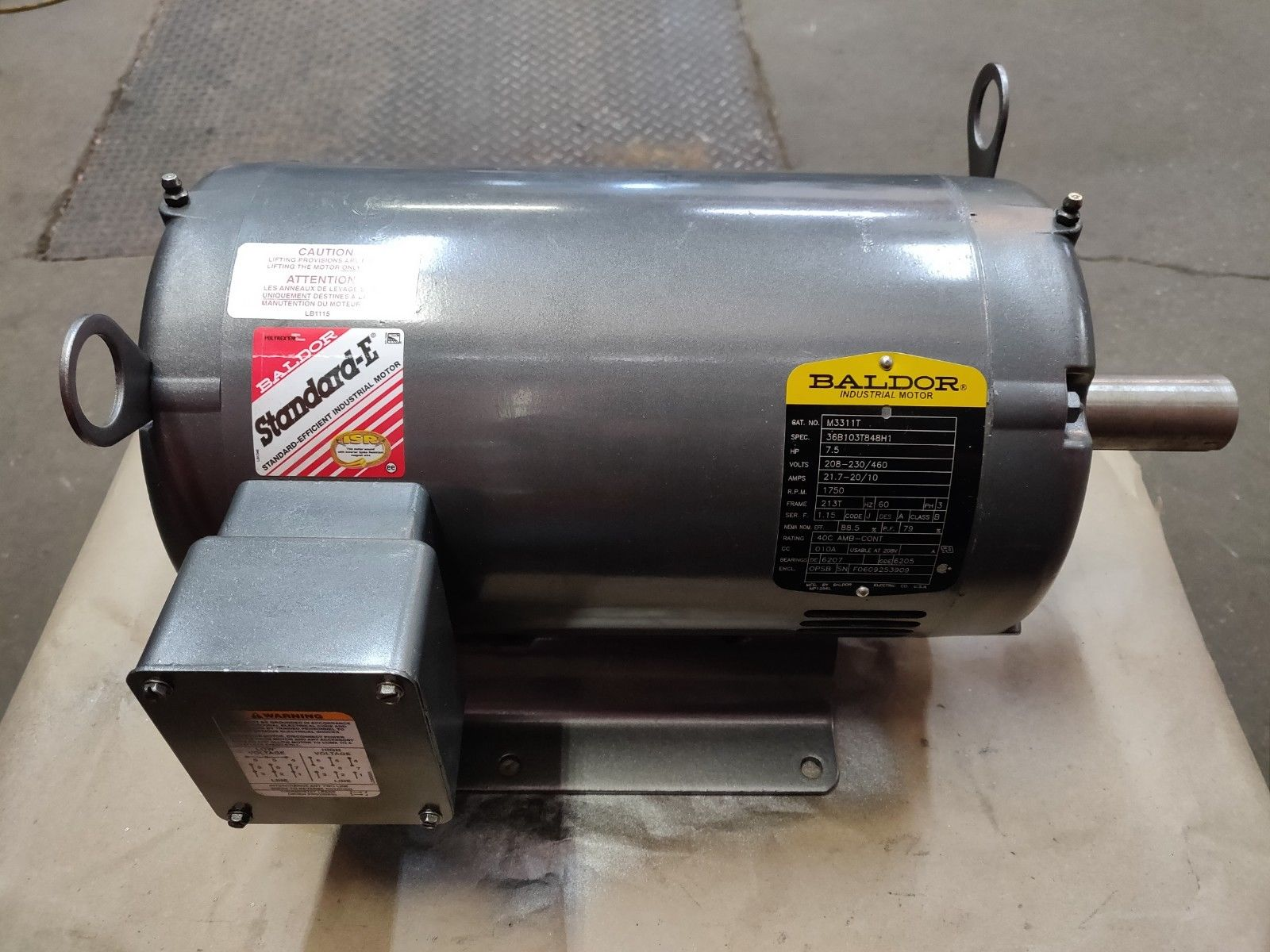 Baldor 3-Phase 7.5 HP Industrial Motor Cat No. M3311T